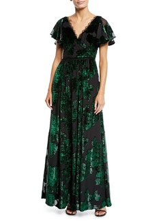 Marchesa V-Neck Velvet Burnout Lace-Trim Gown