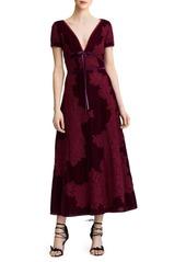 Marchesa Velvet Lace A-Line Cocktail Dress