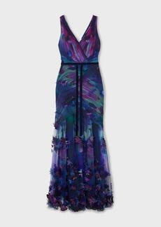 Marchesa Velvet-trimmed Appliquéd Floral-print Tulle Gown