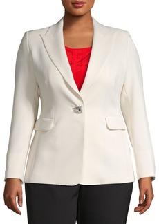 Marina Rinaldi Plus Embellished-Button Peak Lapel Blazer