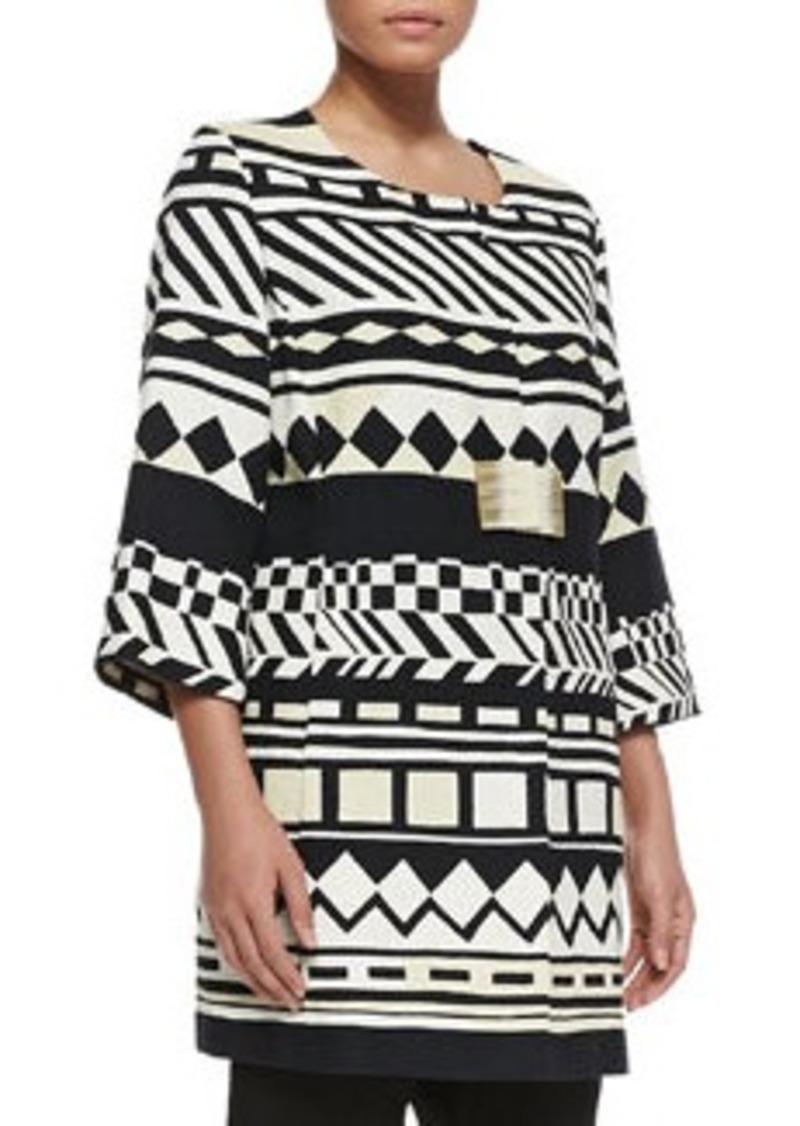 Marina Rinaldi Cecina Geometric-Print 3/4-Sleeve Jacket, Women's