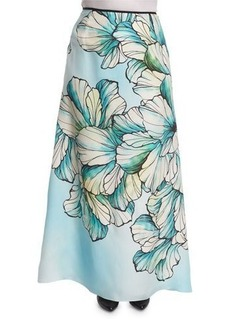 Marina Rinaldi Clacson Long Flower-Print A-line Skirt