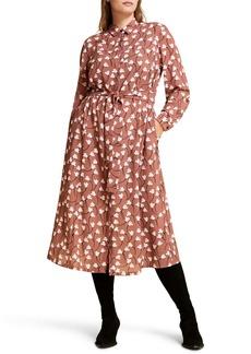 Marina Rinaldi Decorare Floral Crepe Long Sleeve Shirtdress (Plus Size)