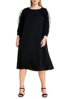 Marina Rinaldi Definito Crepe & Organza A-Line Dress (Plus Size)