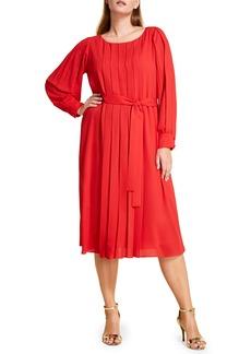 Marina Rinaldi Destino Pleat Detail Long Sleeve Crepe Dress (Plus Size)