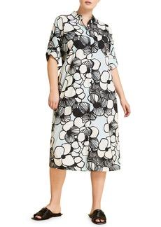 Marina Rinaldi Digione Floral Print Cotton Poplin Shirtdress (Plus Size)