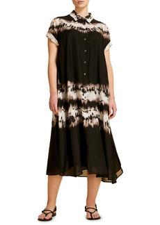 Marina Rinaldi Discorso Tie Dye Silk Midi Shirtdress (Plus Size)