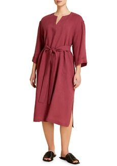 Marina Rinaldi Doriana Belted Linen Midi Dress (Plus Size)