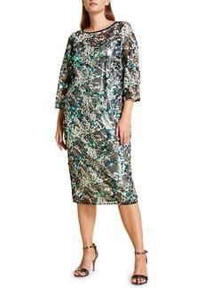 Marina Rinaldi Embroidered Sequin Shift Midi Dress (Plus Size)
