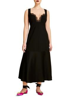 Marina Rinaldi Envers Convertible Sleeve Fit & Flare Satin Dress (Plus Size)