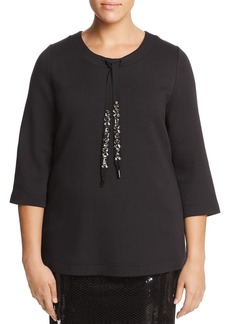 Marina Rinaldi Obliare Pleated Mesh Back Drawstring Top