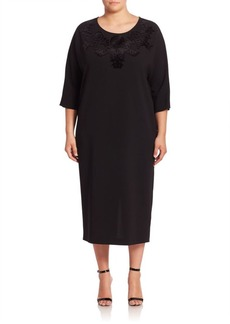 Marina Rinaldi, Plus Size Disegno Embroidered Dress