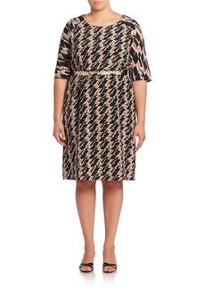 Marina Rinaldi, Plus Size Geometric Printed Belted Waist Dress