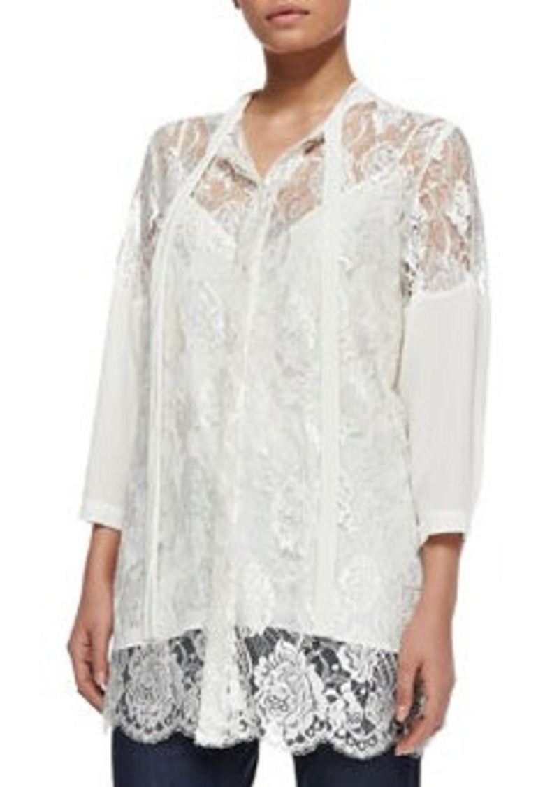 Marina Rinaldi Silk Lace Tie-Neck Jacket, Women's