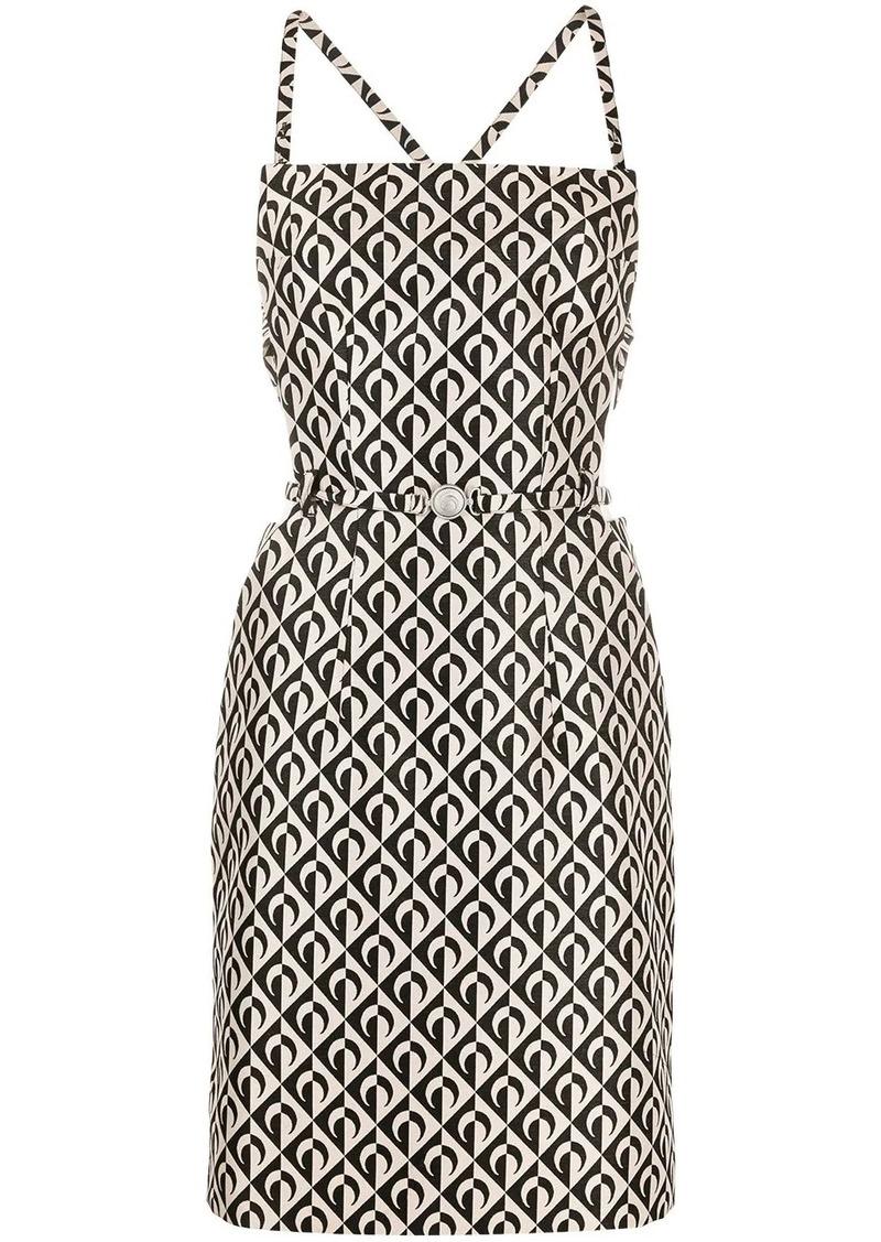 geometric logo-print strappy pinafore dress