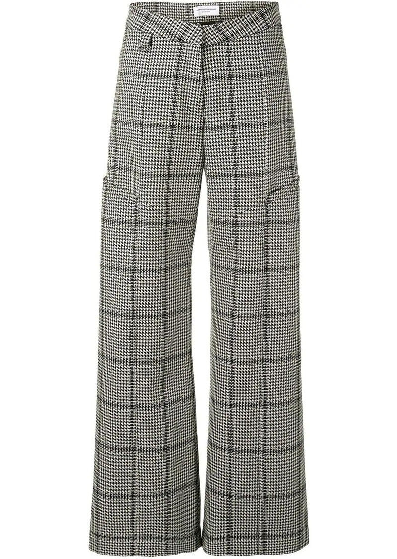 houndstooth wide-leg trousers