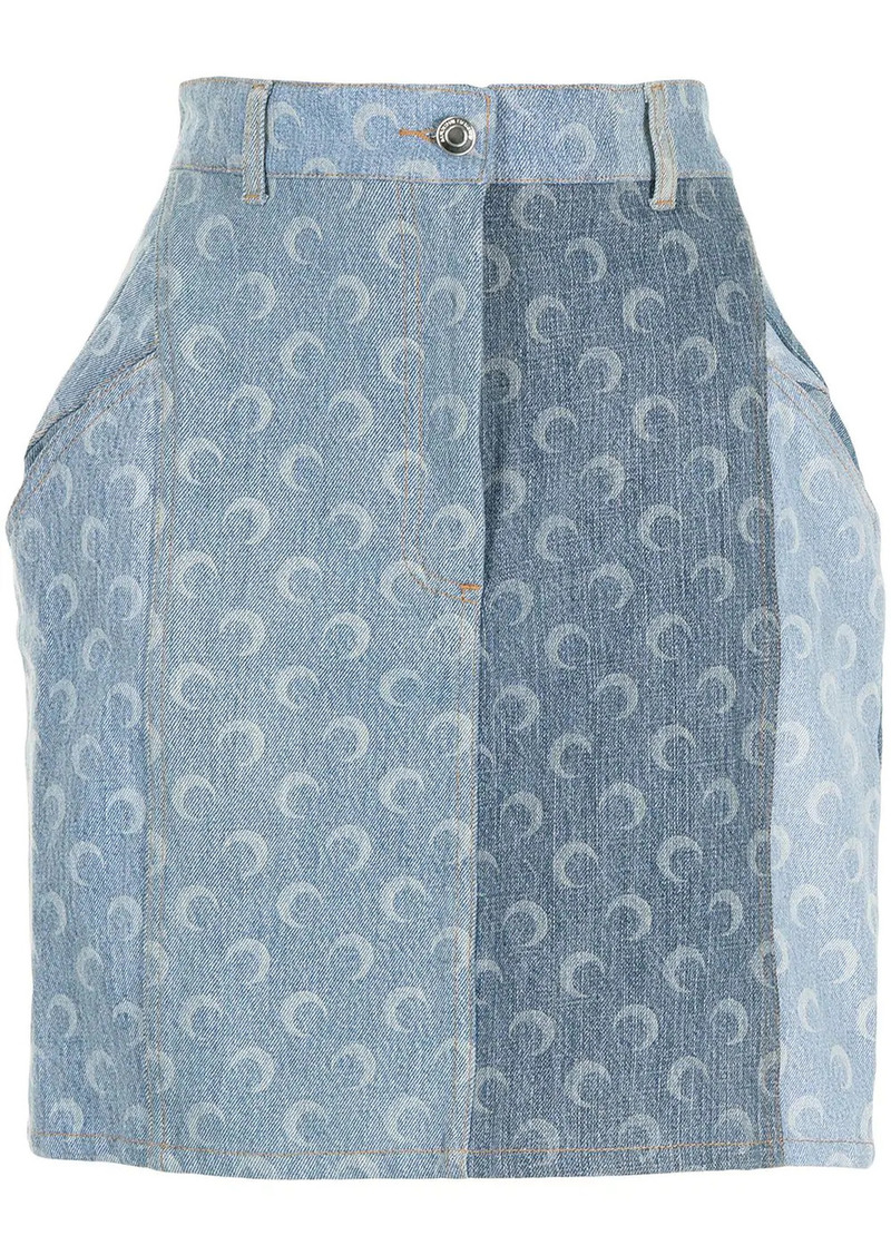 moon-print denim skirt