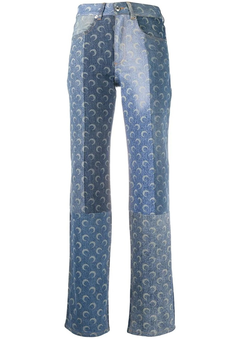 moon print high-rise straight leg jeans