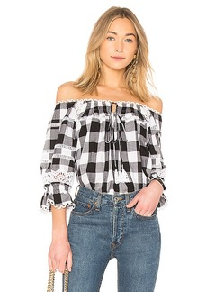 Marissa Webb Amalia Buffalo Plaid Blouse