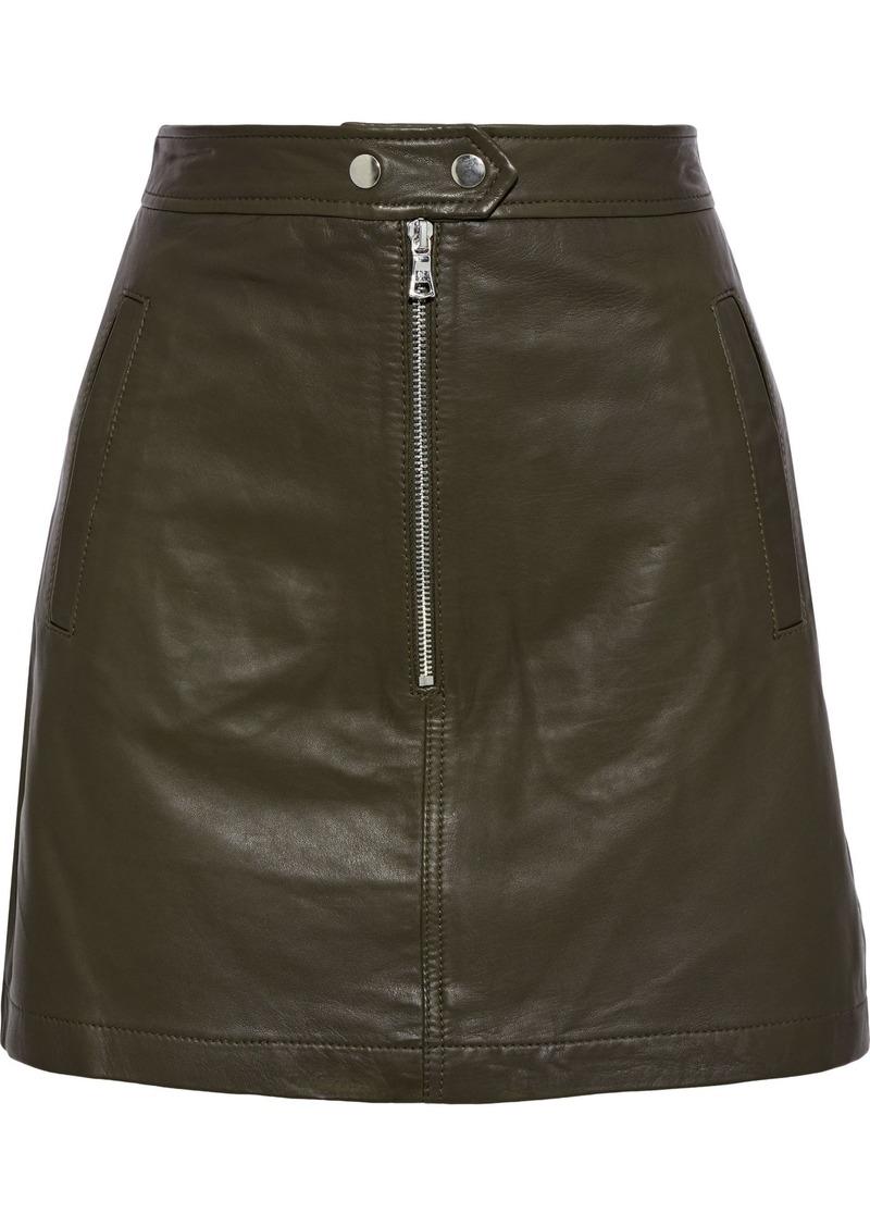 Marissa Webb Woman Alexander Zip-detailed Leather Mini Skirt Army Green