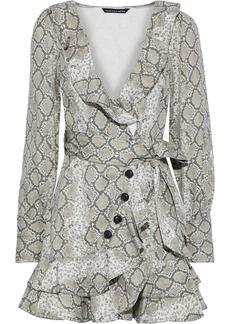 Marissa Webb Woman Eli Wrap-effect Snake-print Cotton-canvas Mini Dress Animal Print