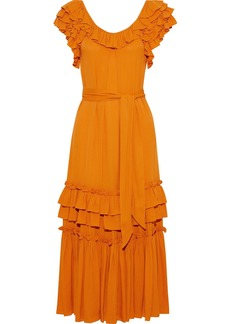 Marissa Webb Woman Elio Belted Ruffled Crepe Midi Dress Orange