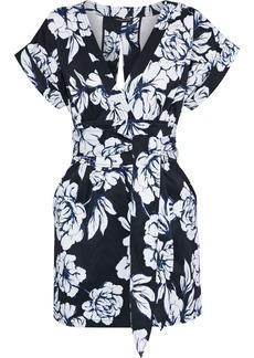 Marissa Webb Woman Luciano Wrap-effect Floral-print Faille Mini Dress Black