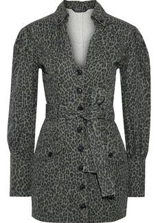 Marissa Webb Woman Mera Belted Leopard-print Cotton-canvas Mini Dress Animal Print
