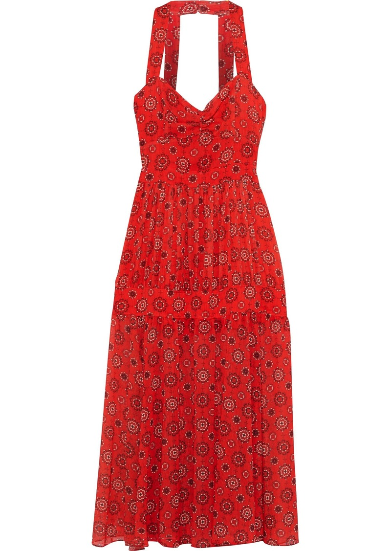 Marissa Webb Woman Seraphina Gathered Printed Georgette Midi Dress Red