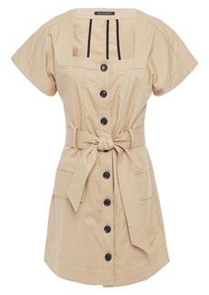 Marissa Webb Woman Tyler Belted Stretch-cotton Canvas Mini Dress Beige