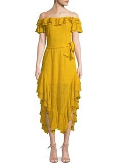 Marissa Webb Sofia Off-The-Shoulder Embroidered Silk Dress