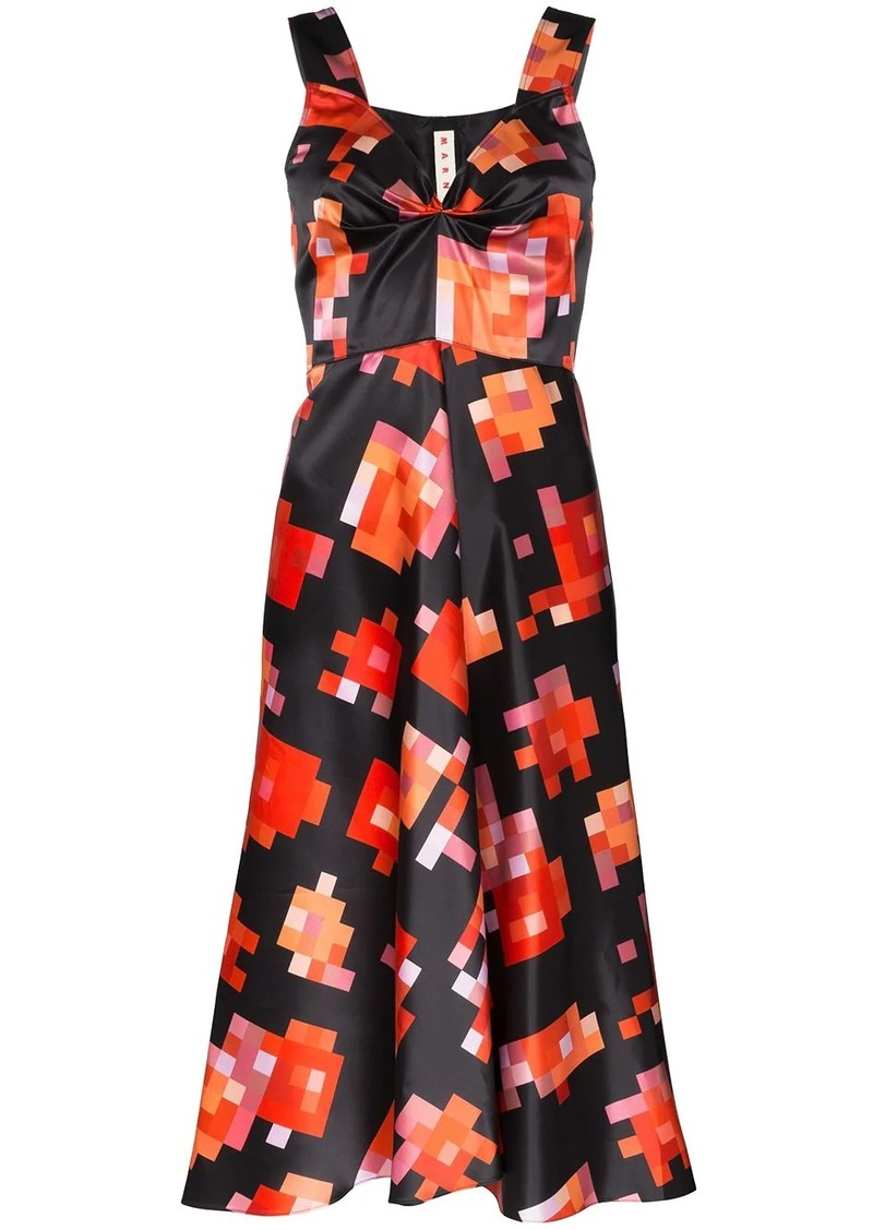 Marni pixel print midi dress