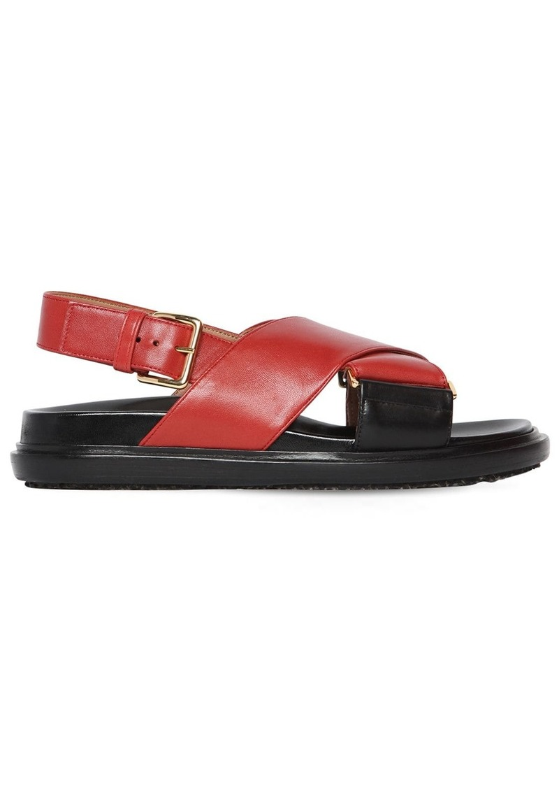 Marni 20mm Crisscross Leather Flat Sandals