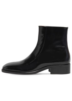 Marni 30mm Brushed Leather Ankle Boots