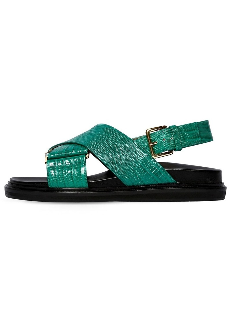Marni 30mm Crisscross Embossed Leather Sandals