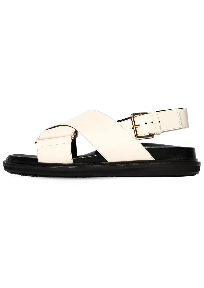 Marni 30mm Crisscross Leather Flat Sandals