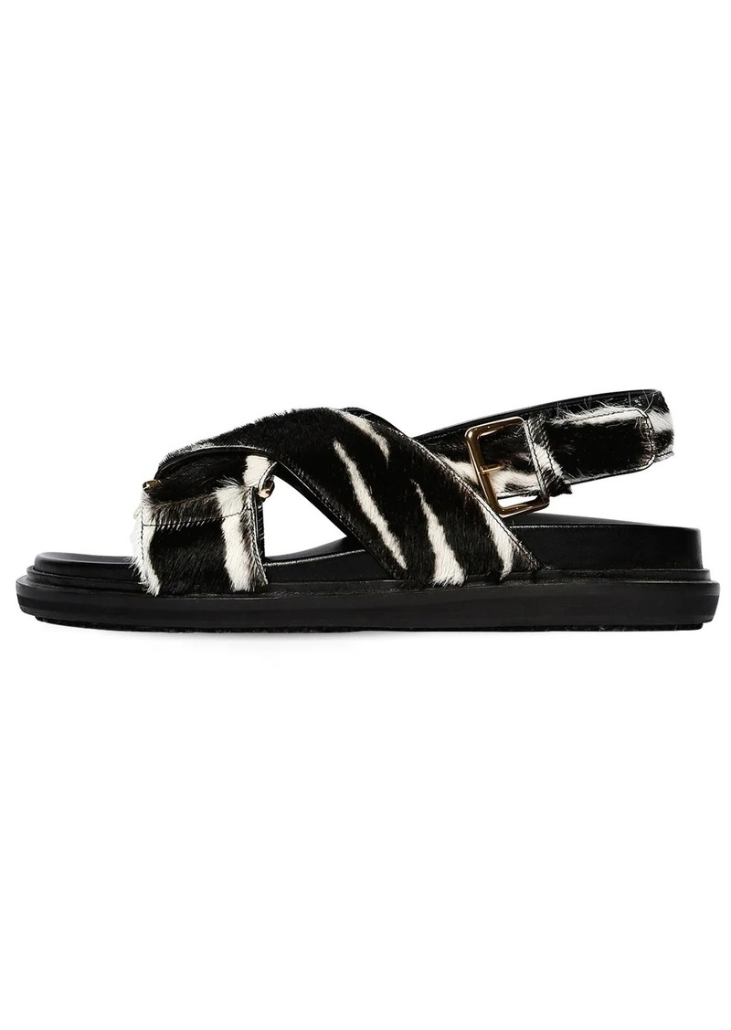 Marni 30mm Crisscross Pony Leather Flat Sandal