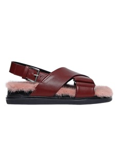 Marni 30mm Leather Sandals W/ Mink Insole