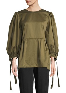 Marni 3/4 Balloon-Sleeve Button-Back Peplum Blouse