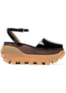 Marni 80 patent leather flatform sandals