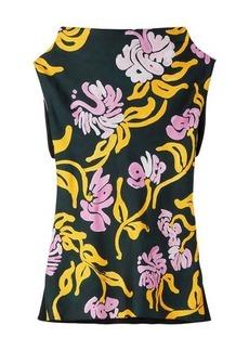 Marni All-over print, draped neck sleeveless top