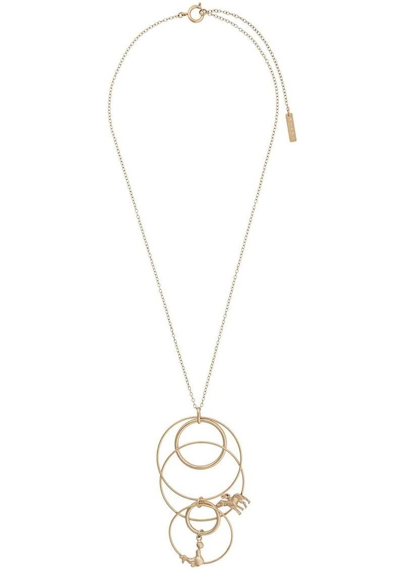 Marni animal pendant multi hoop necklace