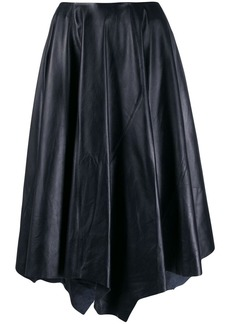 Marni asymmetric leather midi skirt