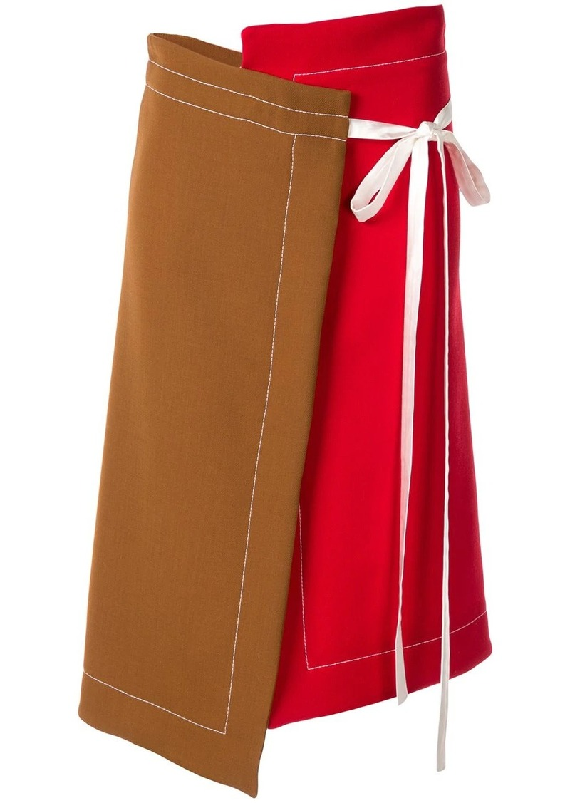 Marni asymmetric ribbon tie skirt