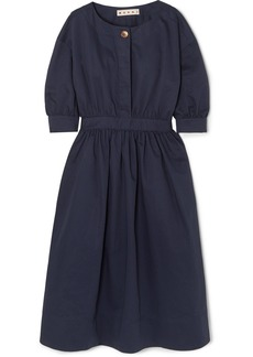 Marni Belted Cotton And Linen-blend Twill Midi Dress