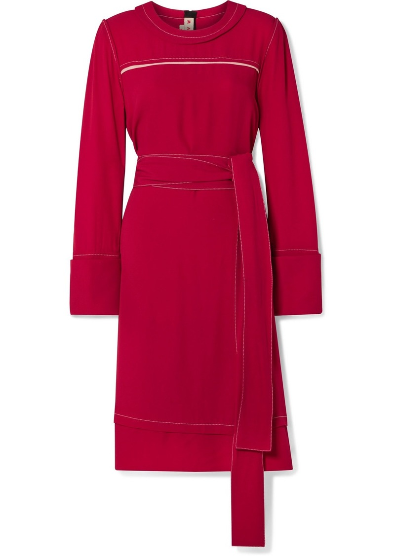 Marni Belted Crepe Dress