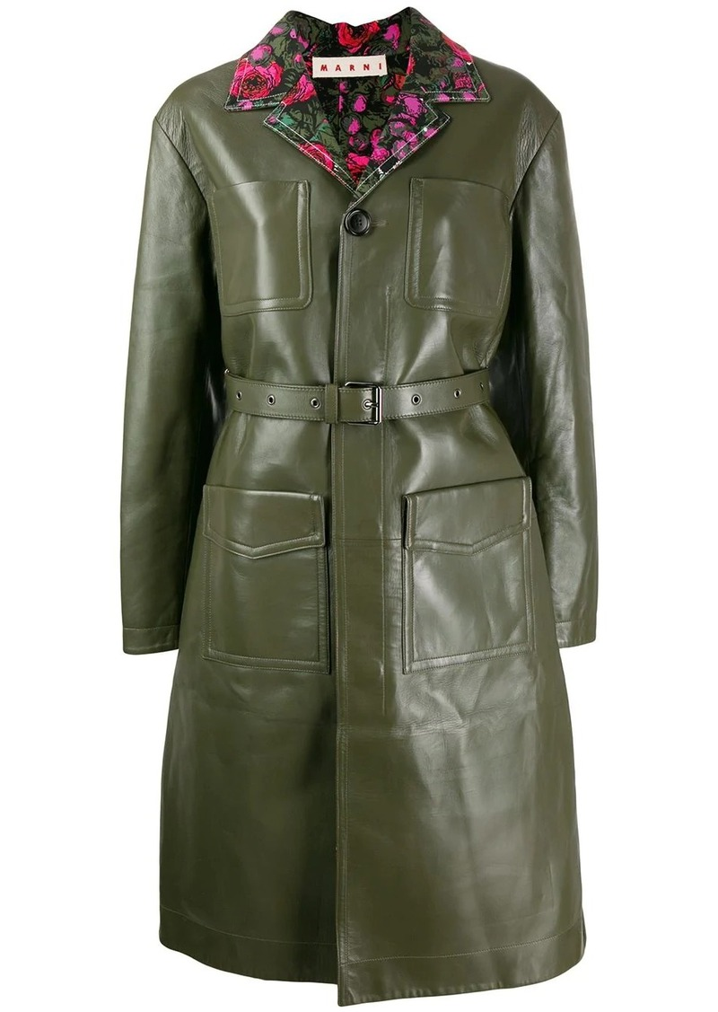 Marni belted leather coat