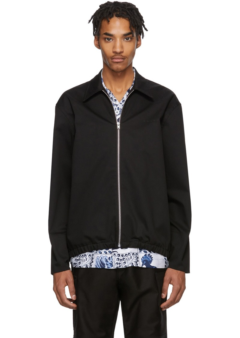 Marni Black Gabardine Workwear Jacket