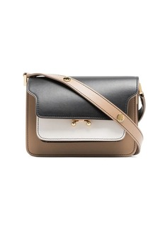 Marni black, white and beige trunk micro leather shoulder bag