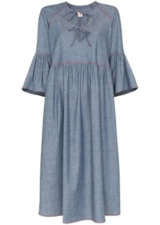 Marni bow front denim dress